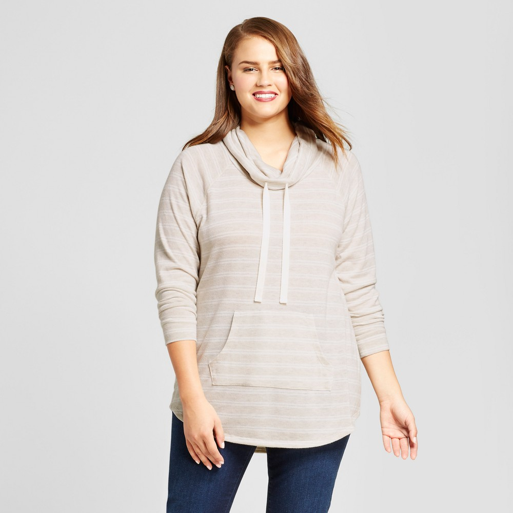Womens Plus Size Striped Sweatshirt - No Comment - Brown 3X