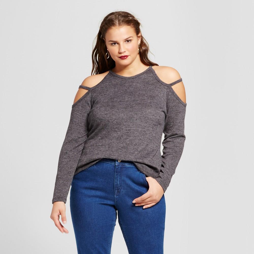 Women's Plus Size Cold Shoulder Tunic Top - No Comment - Black 3X, Gray