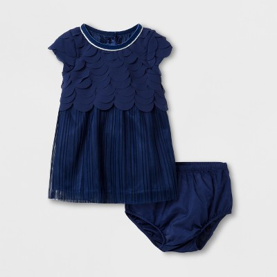 Baby Girls' Scallop Dress - Cat & Jack™ Navy 0-3 M