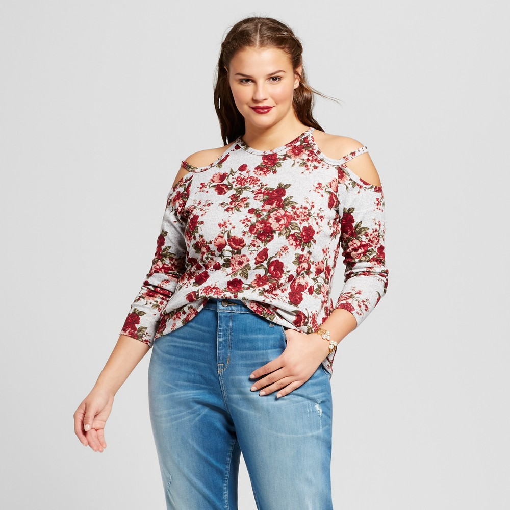Womens Plus Size Floral Cold Shoulder Tunic Top - No Comment Pink Floral 3X, Red Floral