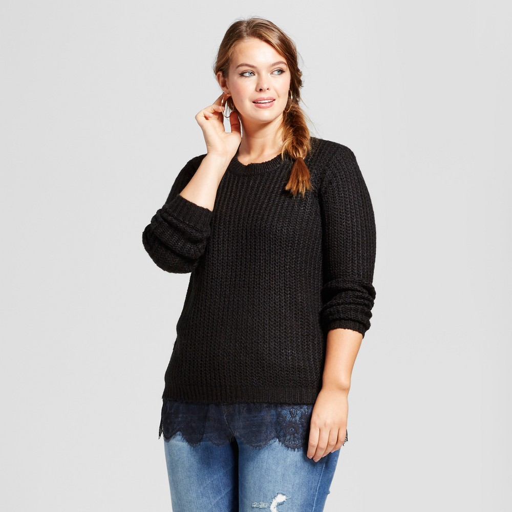 Womens Plus Size Eyelash Lace Trim Pullover Sweater - No Comment Black 2X