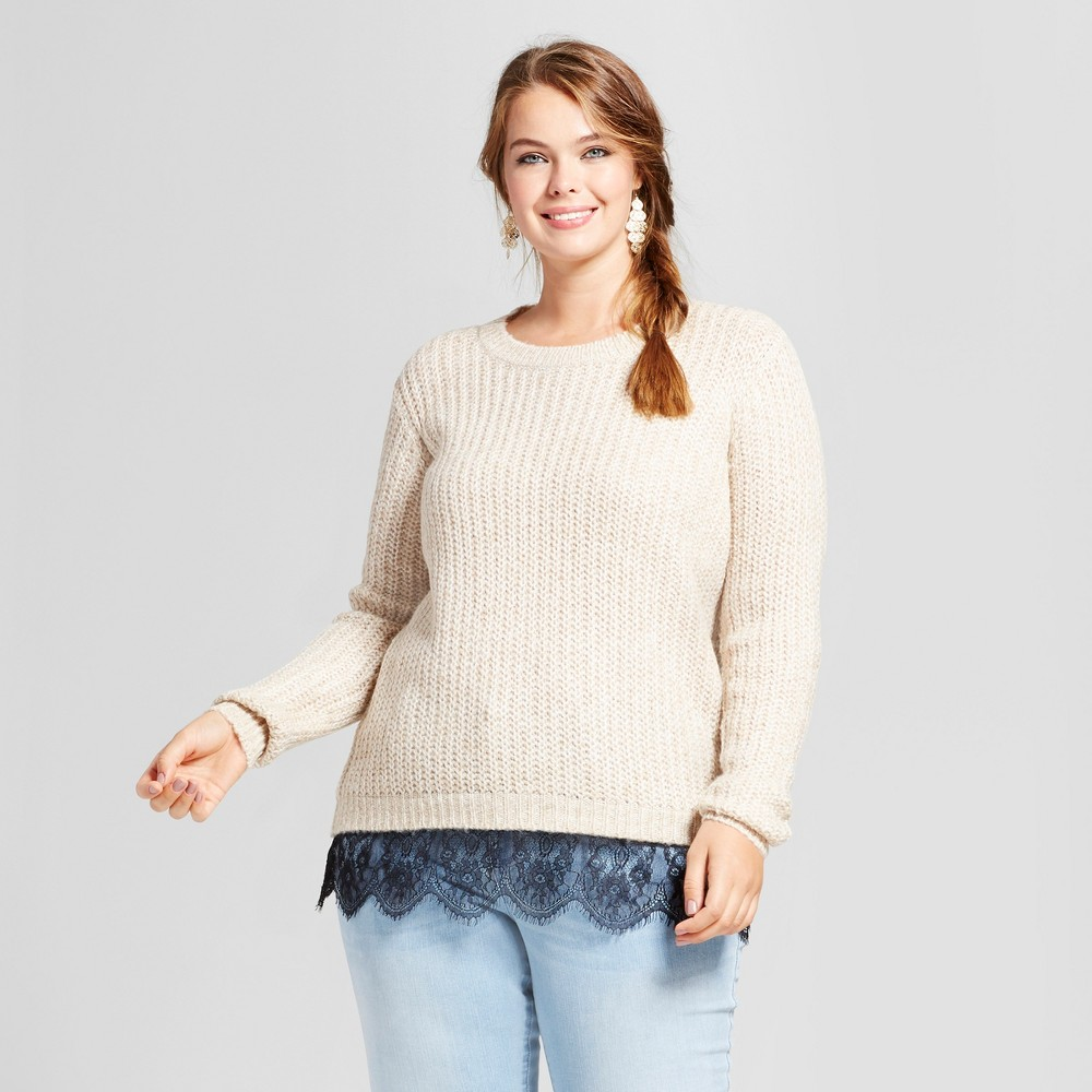 Womens Plus Size Eyelash Lace Trim Pullover Sweater - No Comment Cream (Ivory) 1X