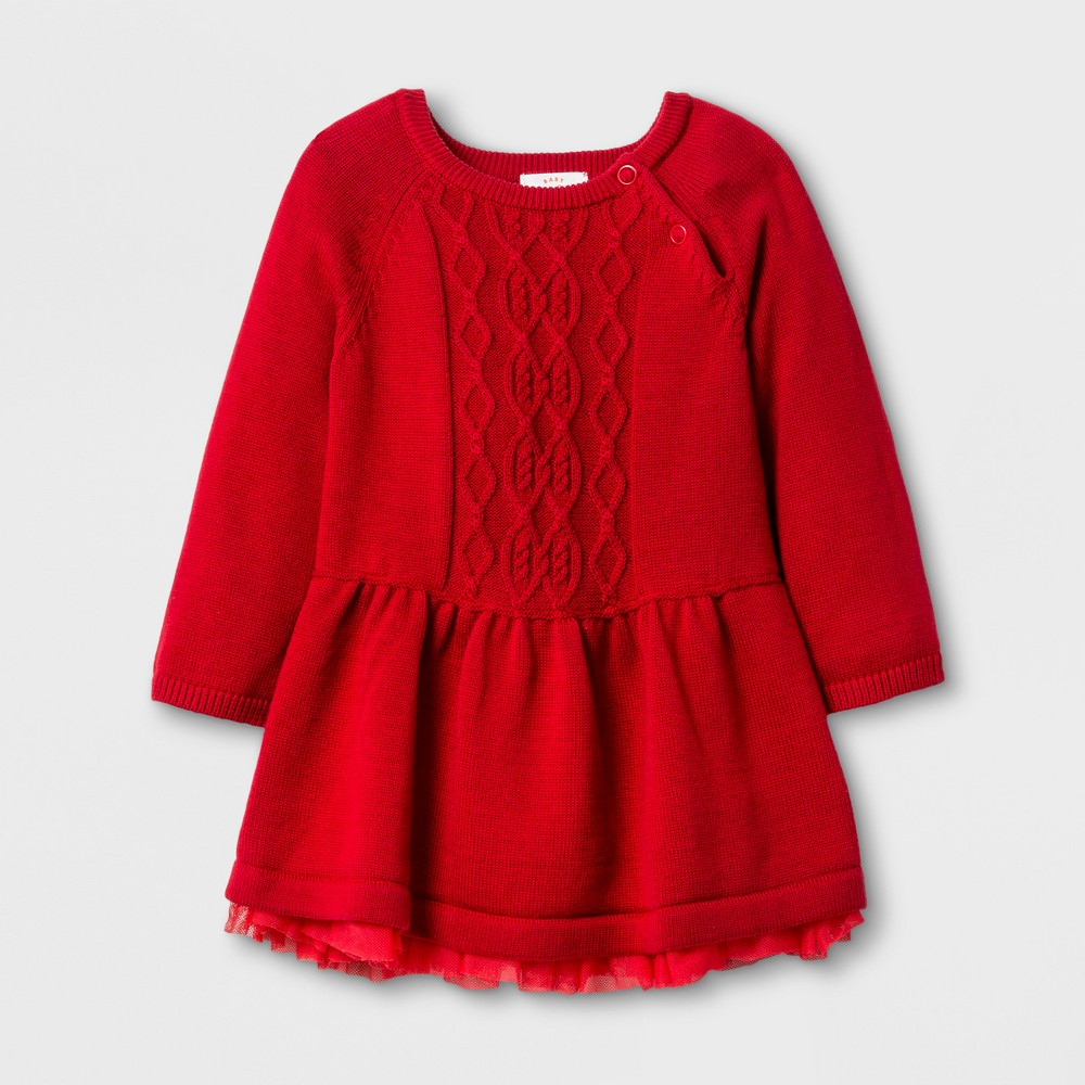Baby Girls Dress with Sweater Set - Cat & Jack Red Velvet NB