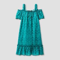 Girls' Stella & Sienna Chevron Knit Lace Sundress - Bright Blue