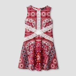 Girls' Stella & Sienna Printed Scuba A Line Dress - Coral/Red/White