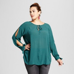 Women's Plus Size Slit Sleeve Blouse - Ava & Viv™