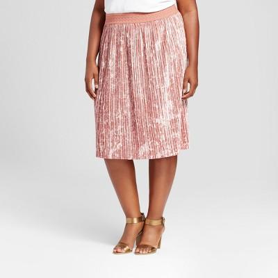 view Women's  Velvet Pleated Skirt - Ava & Viv on target.com. Opens in a new tab.