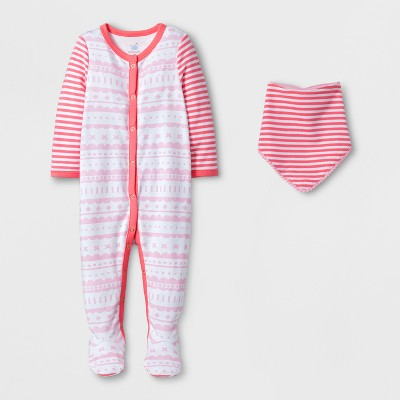 Baby Girls' Stripe Sleep N' Play and Bib Set - Cloud Island™ Pink 3-6M