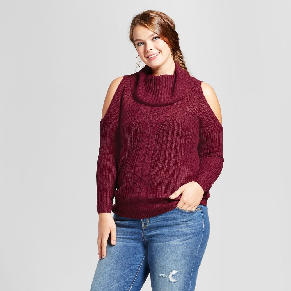Womens Plus Size Cable Knit Cold Shoulder Pullover Sweater - No Comment Red 1X