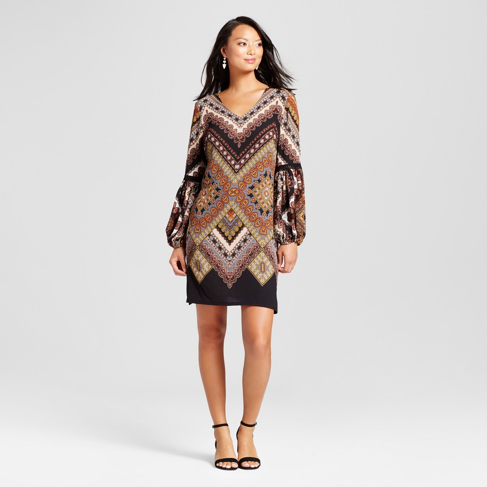 Womens Printed Balloon Sleeve Dress with Crochet Detail - Chiasso Black Combo XL, Brown