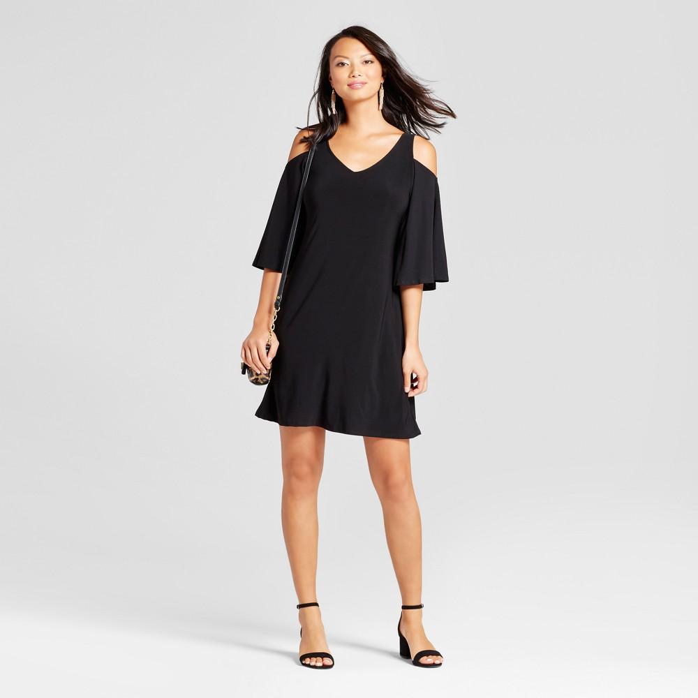 Womens 3/4 Sleeve Cold Shoulder Shift Dress - Chiasso Black M