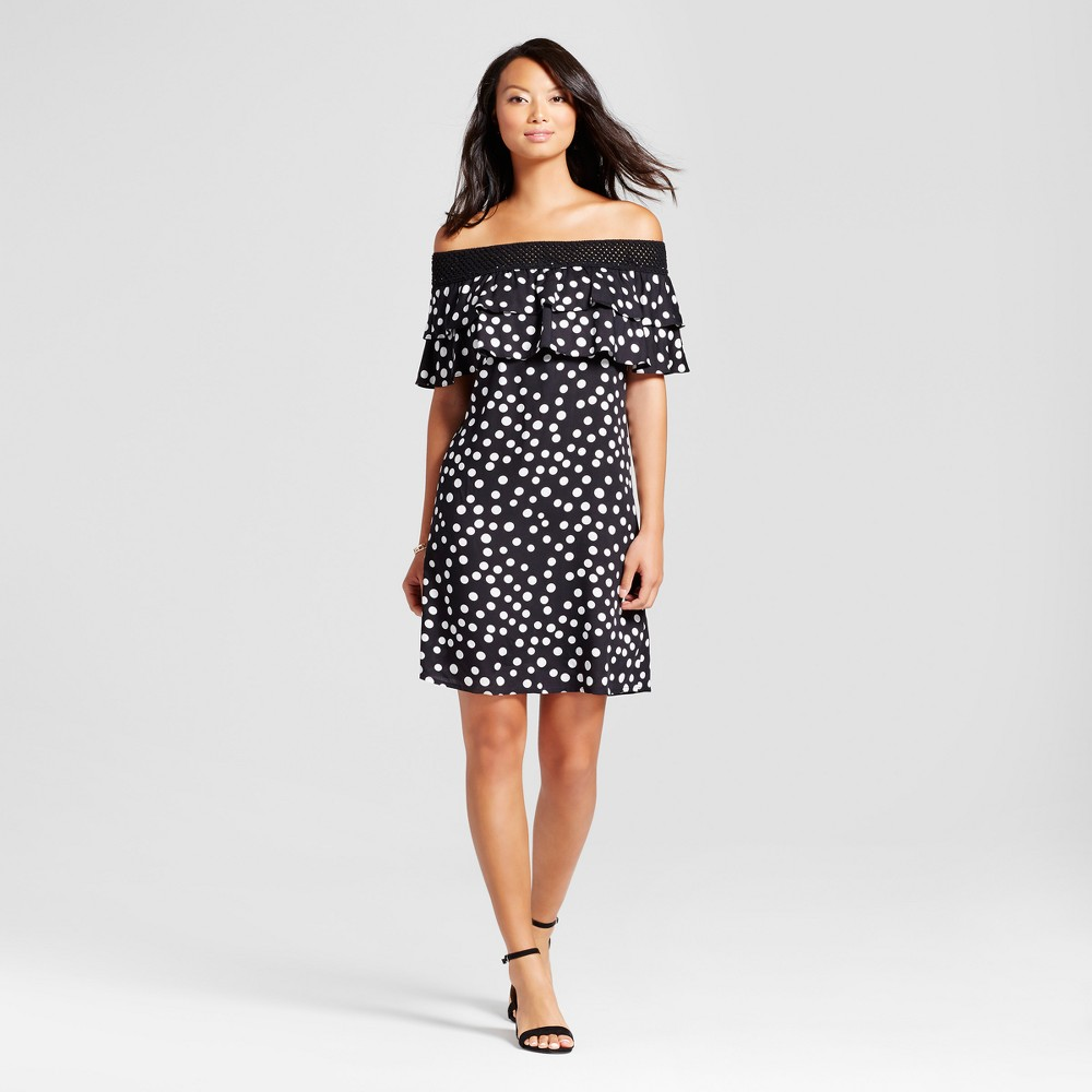 Womens Dot Printed Off the Shoulder Dress with Crochet Hem - Chiasso Black/White L
