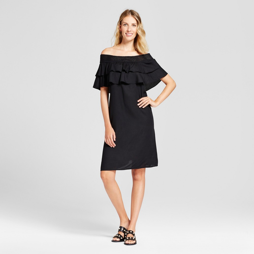 Womens Textured Off the Shoulder Dress with Crochet Hem - Chiasso Black S