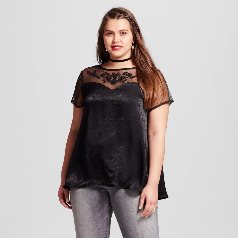 Womens Plus Size Victorian Neckline Swing Blouse - Almost Famous (Juniors) Black 3X