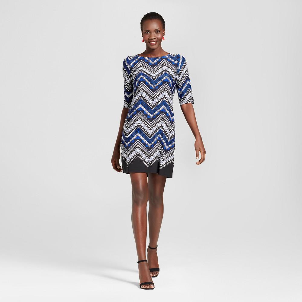 Womens Printed Scoop Neck Elbow Sleeve Knit Dress - Studio One Black/Blue 16, Blue Black