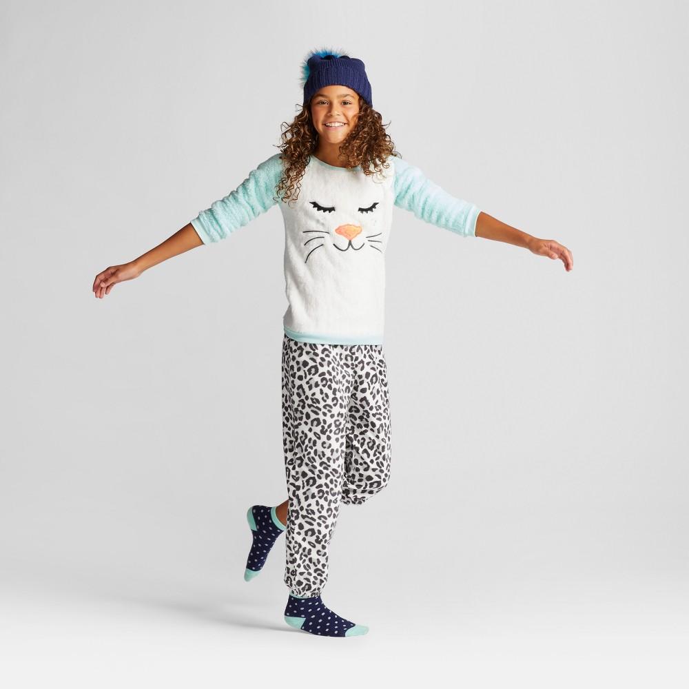 Girls Pajama Set with Pants Cat & Jack Bleached Aqua Leopard S, Green