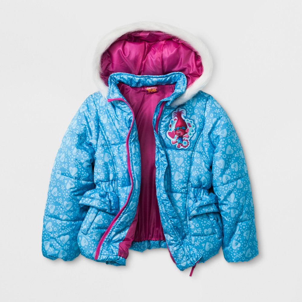 Girls Trolls Puffer Jacket - Blue 6X