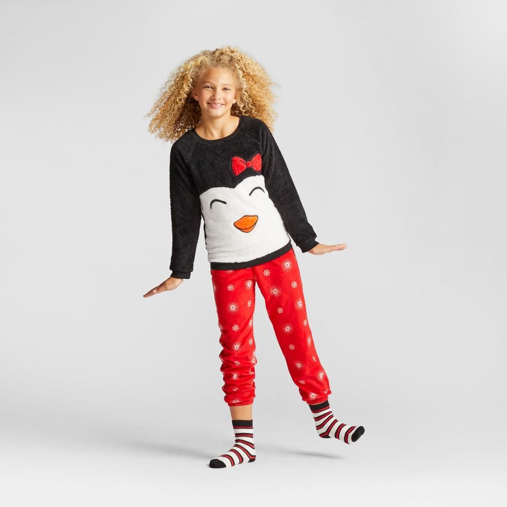 Girls Penguin Cozy Pajama Set With Pants - Cat & Jack Black XL