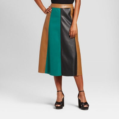 view Women's Paneled Swing Skirt - Who What Wear Green Colorblock on target.com. Opens in a new tab.