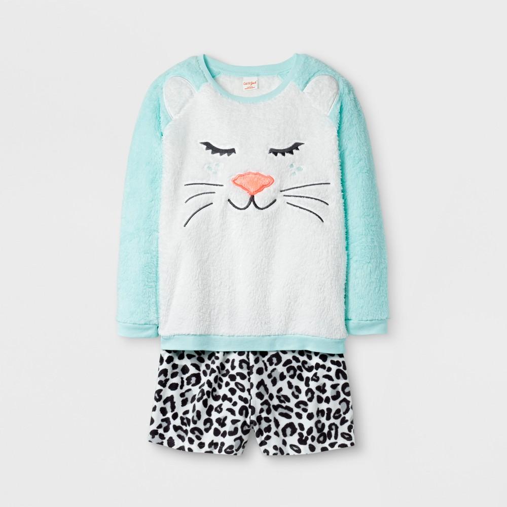 Girls Pajama Set with Shorts - Cat & Jack Bleached Aqua Leopard XL, Blue