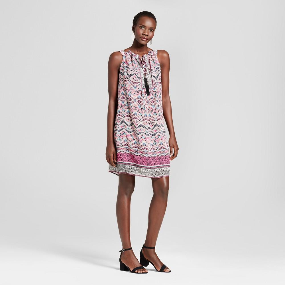 Womens Halter Neck Printed Tank Dress with Tassels - Studio One Pink/Black 8, Pink Black