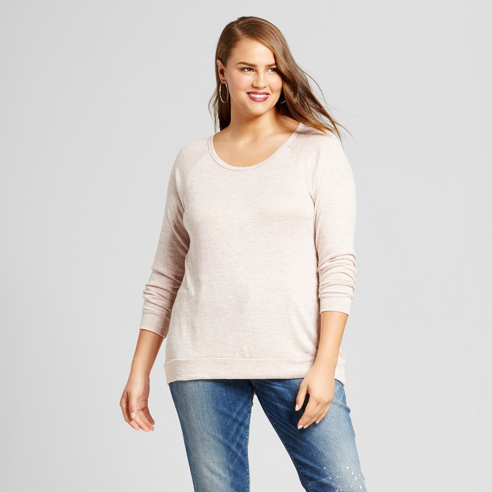 Womens Plus Size Sweatshirt with Back Detail - No Comment Pink 3X