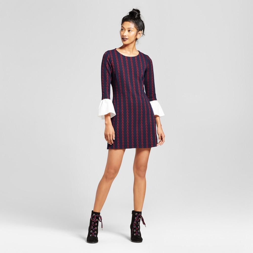 Womens Patterned Jacquard Poplin Bell Sleeve Dress - 3Hearts (Juniors) Navy XL, Blue Red