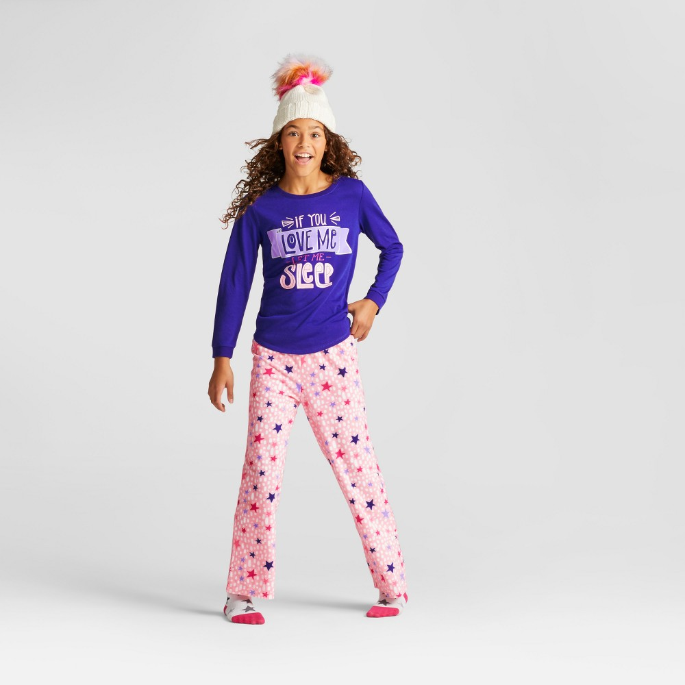 Girls If You Love Me Let Me Sleep Pajama Set - Cat & Jack Blue Dream XS