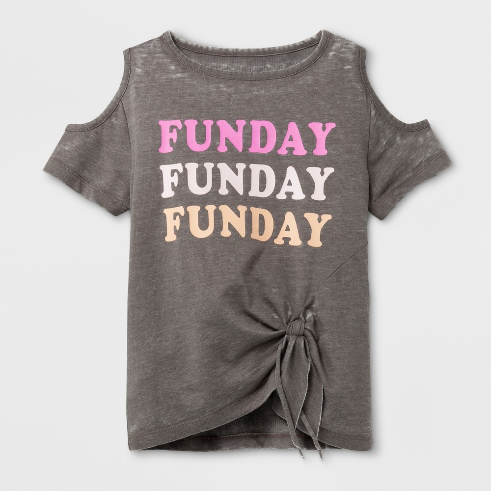 Girls Funday Graphic Cold Shoulder T-Shirt - Gray L
