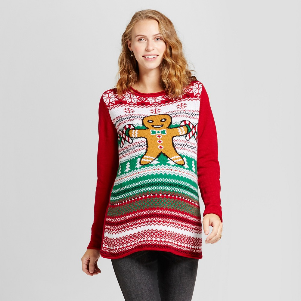 Maternity Light Up Fair Isle Gingerbread Man Tunic Sweater - Ugly Christmas Sweater Red L