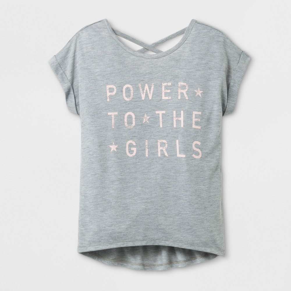 Girls Girl Power Graphic T-Shirt - Gray L