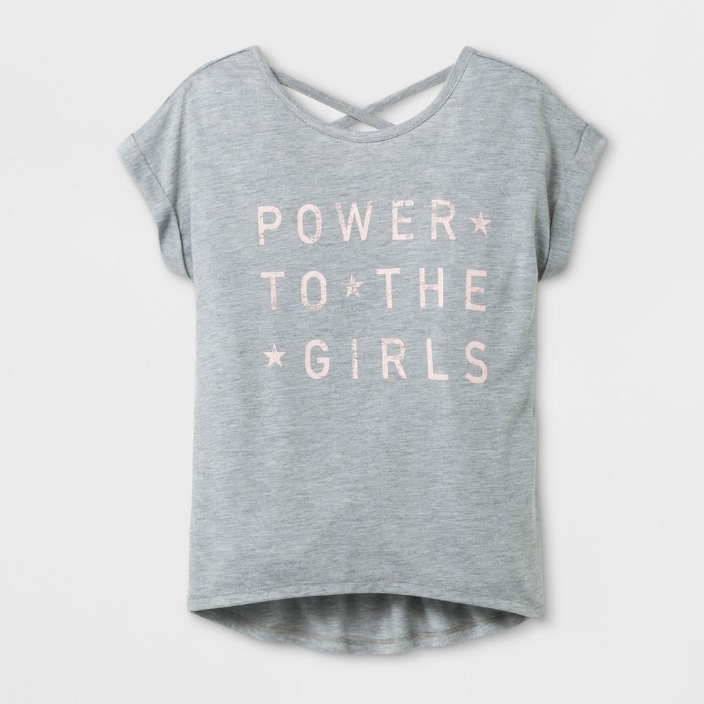 Girls Girl Power Graphic T-Shirt - Gray XL