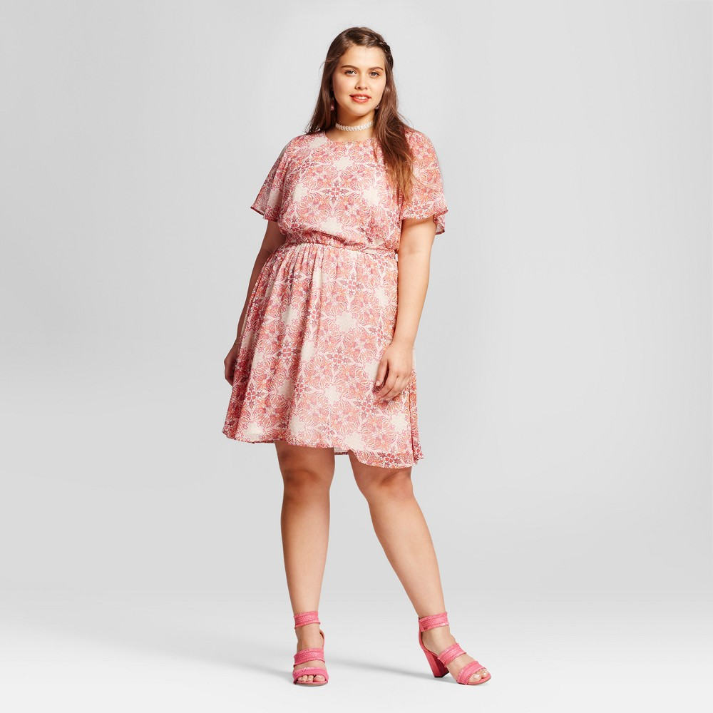 Women's Plus Size Medallion Print Dress - Lily Star (Juniors') - Pink 2X, Orange