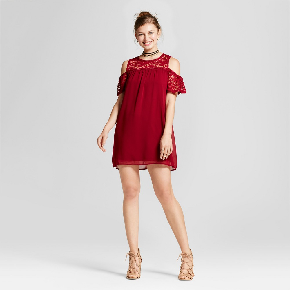 Womens Lace Yoke Cold Shoulder Dress - Lily Star (Juniors) Burgundy (Red) L