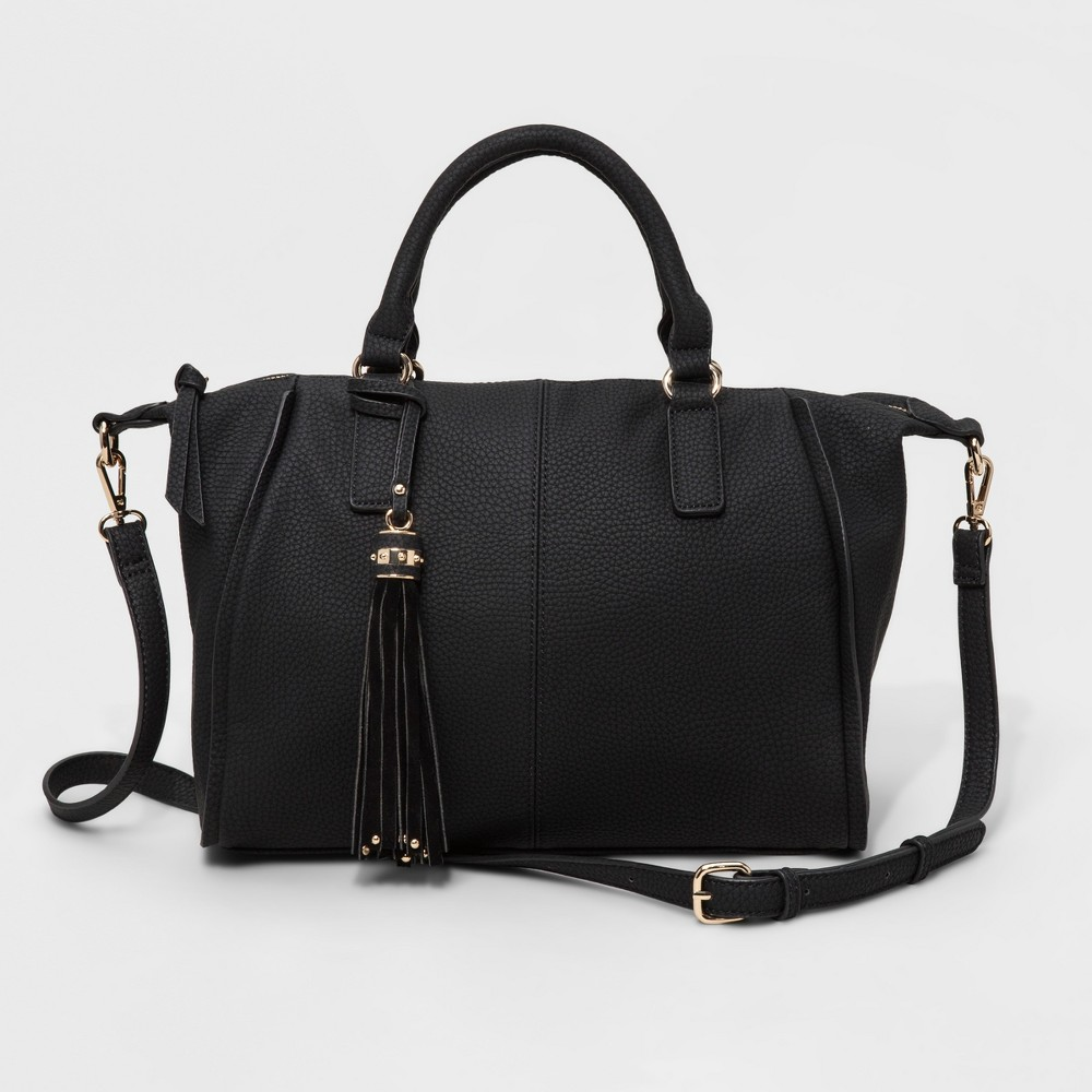 Womens Faux Leather Satchel with Genuine Suede Tassel - Black