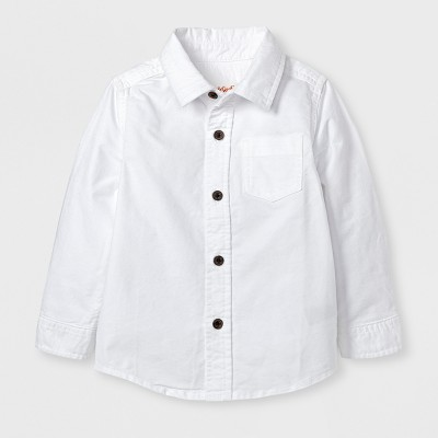 Toddler Boys' Long Sleeve Button Down Shirt Cat & Jack™ - White 2T