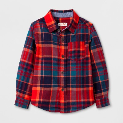 Toddler Boys' Long Sleeve Button Down Shirt Cat & Jack™ - Red 12M