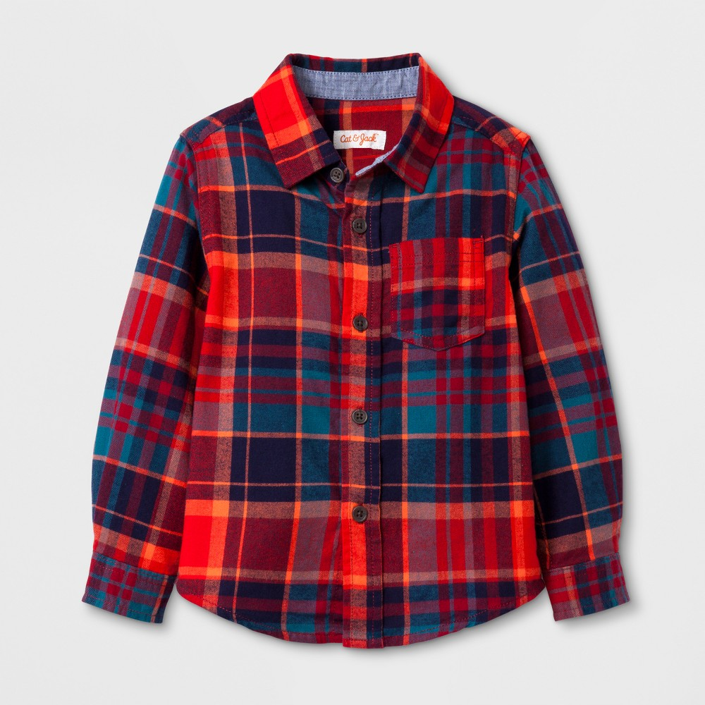 Toddler Boys Long Sleeve Button Down Shirt Cat & Jack - Red 2T