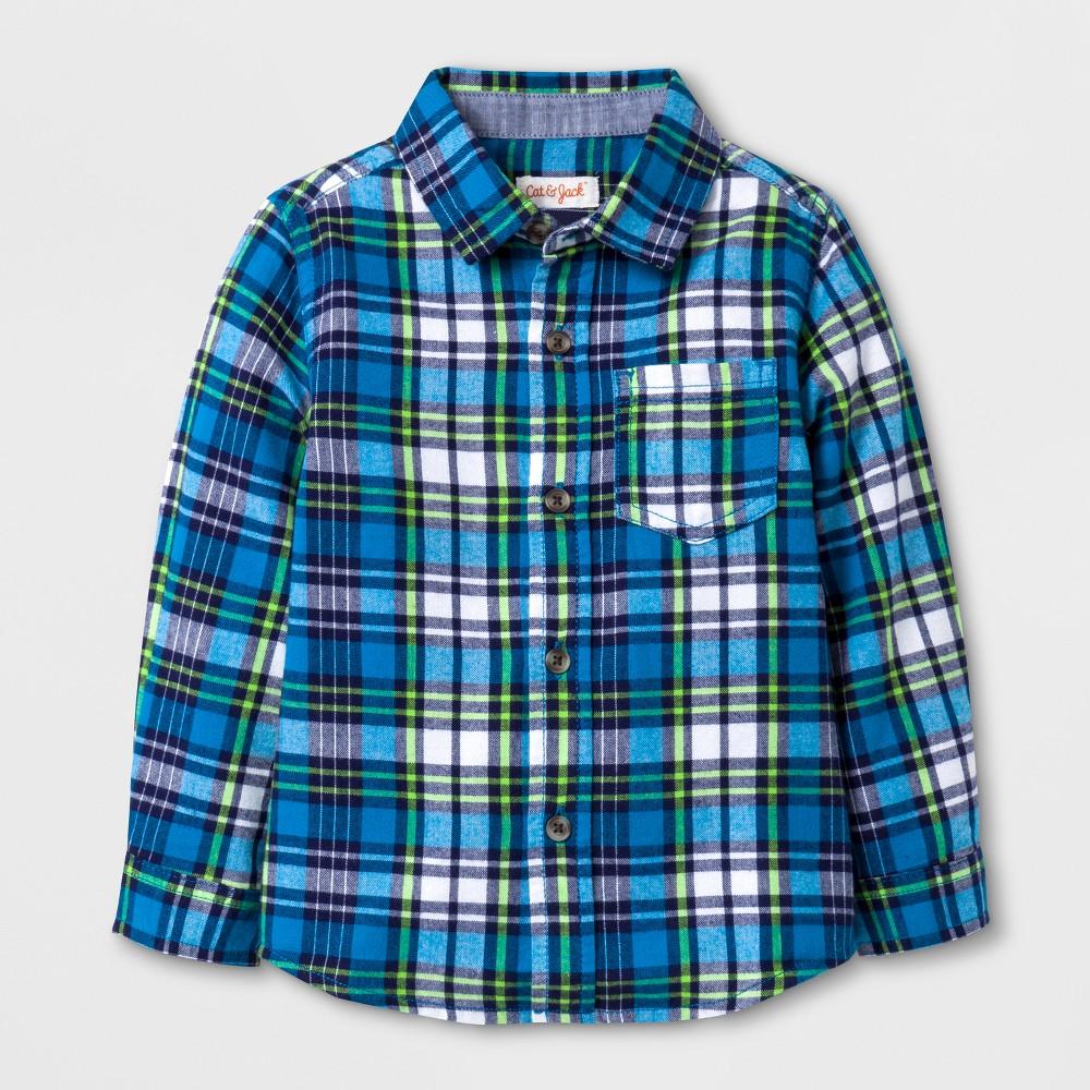 Toddler Boys Long Sleeve Button Down Shirt - Cat & Jack Blue 4T