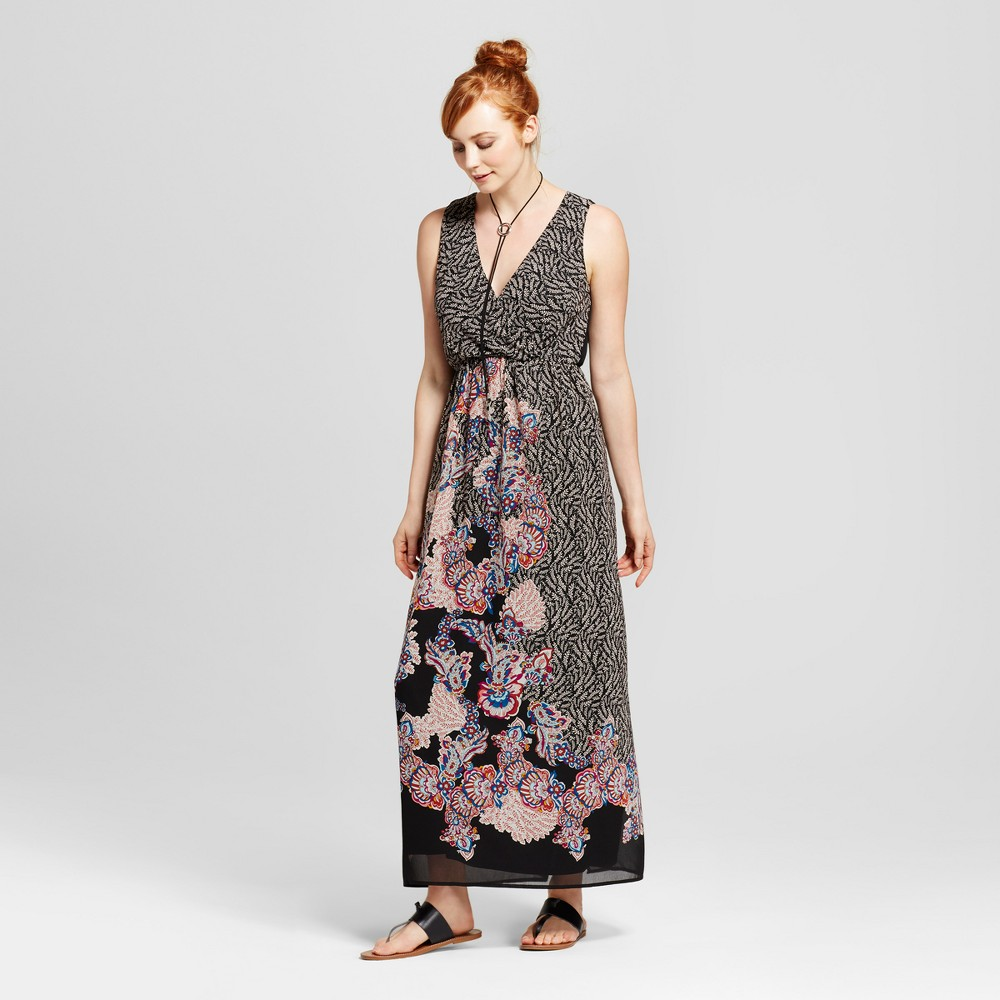 Womens Border Print Surplice Maxi Dress - Lily Star (Juniors) Black M, Purple