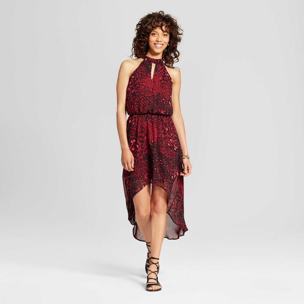 Womens Printed Cut-Out High-Low Dress - Lily Star (Juniors) Burgundy L, Red