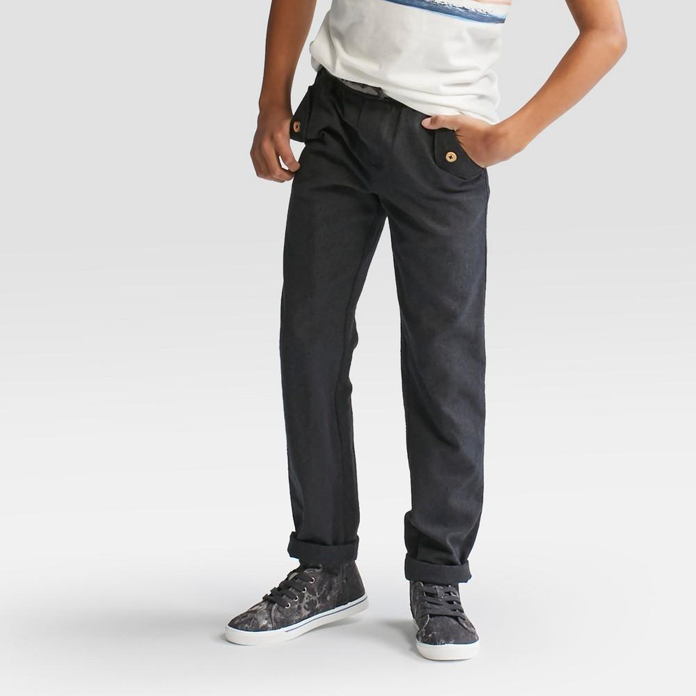 Boys Charcoal Tweed Cuffed Jogger Pants - Cat & Jack Black 5