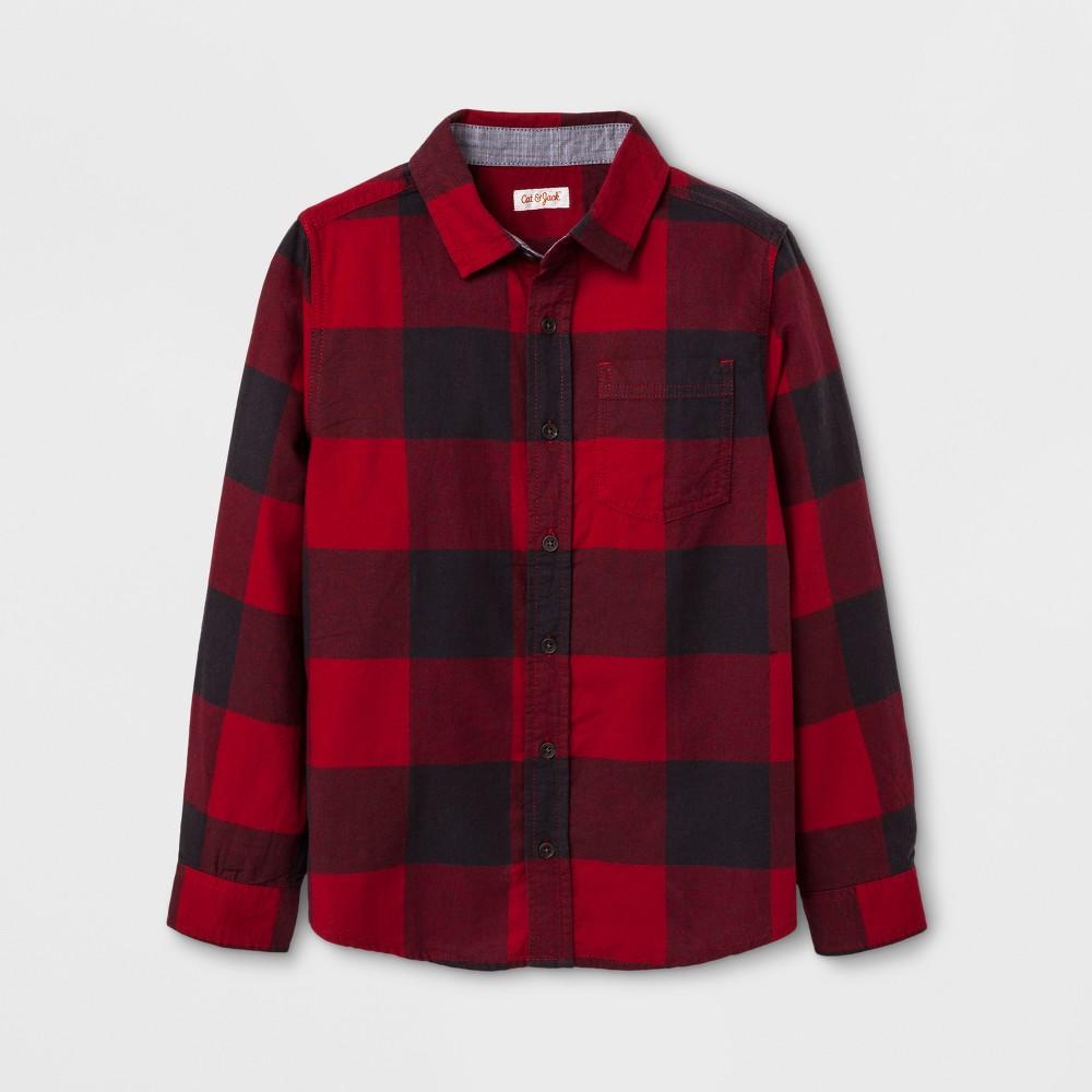 Boys Long Sleeve Button Down Shirt - Cat & Jack Red Xxl Husky