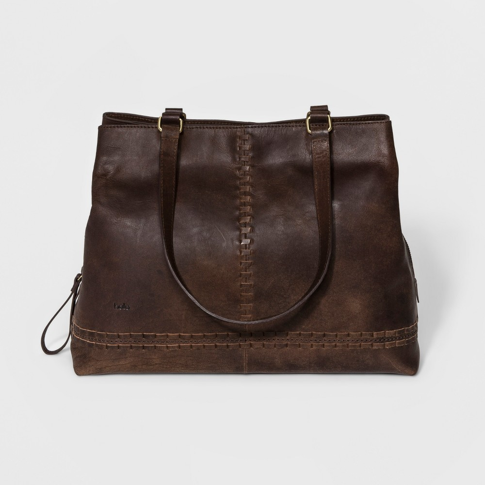 Womens Bolo Arcata Distressed Tote Handbag - Chocolate (Brown)