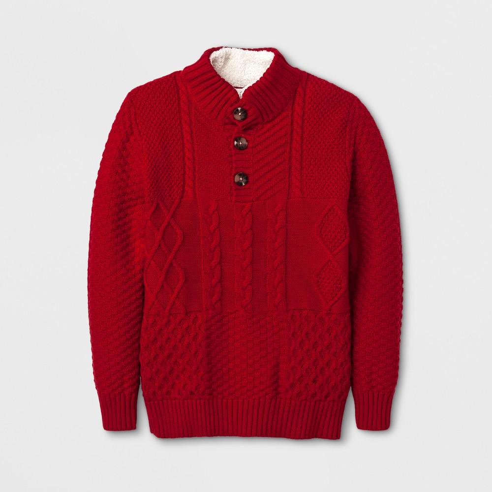 Boys Long Sleeve Pullover Sweater - Cat & Jack Red Velvet XL