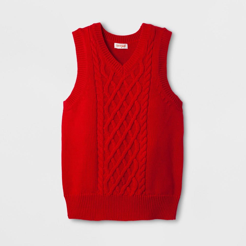 Boys Sleeveless Sweater Vests - Cat & Jack Red Velvet XL