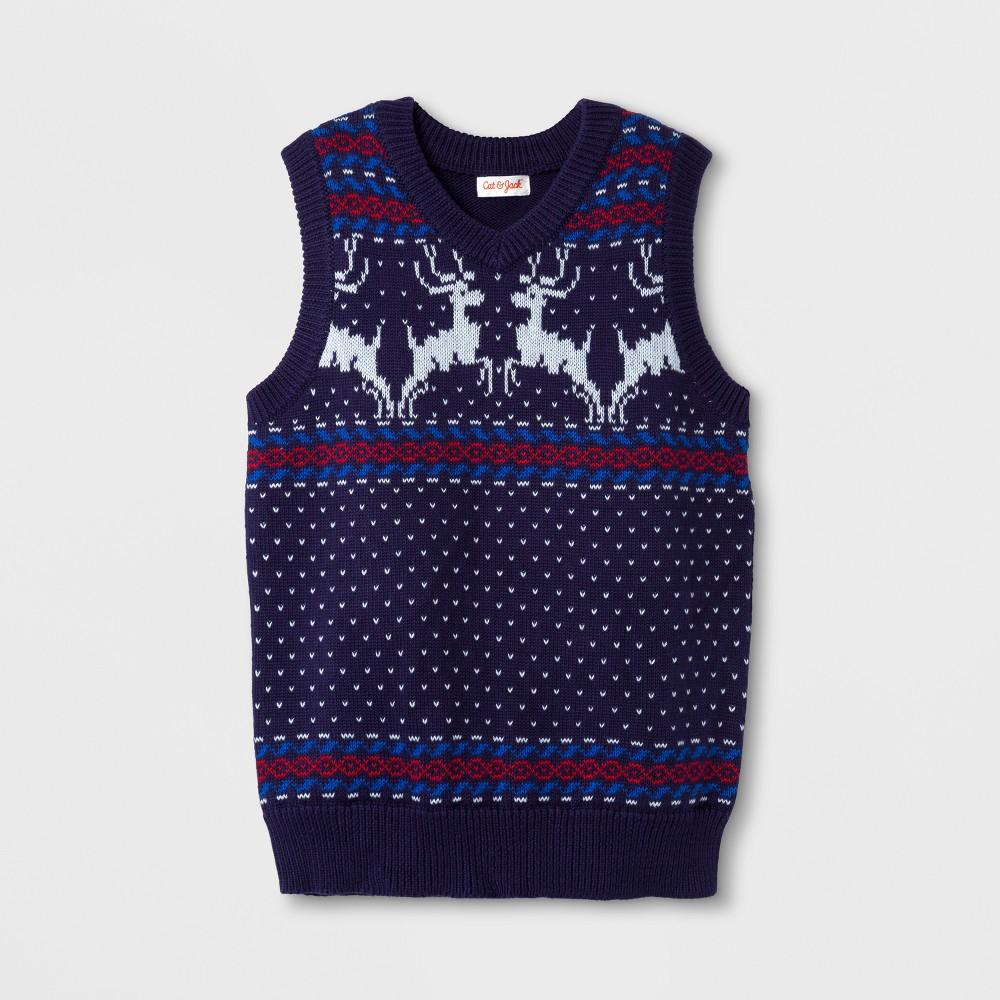 Boys Sleeveless Sweater Vests - Cat & Jack Navy S, Blue