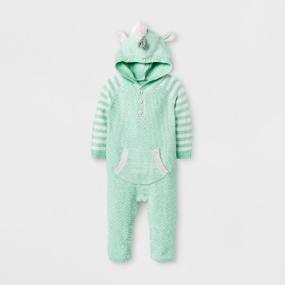 Baby Girls' Unicorn Sweater Romper - Cat & Jack™ Green 18 M