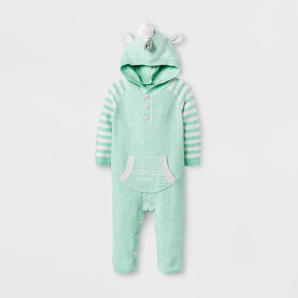 Baby Girls Unicorn Sweater Romper - Cat & Jack Green 18 M