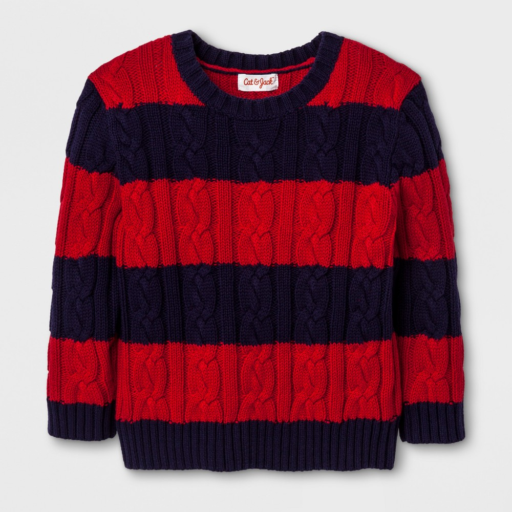 Toddler Boys Crew Neck Cable Stripe Pullover - Cat & Jack Stately Blue 4T